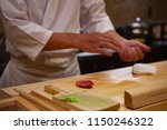 professional sushi chef... | Shutterstock . vector #1150246322