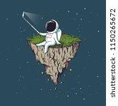 astronaut make selfie on flying ... | Shutterstock .eps vector #1150265672