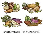 exotic vegetables and beans... | Shutterstock .eps vector #1150286348