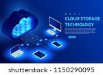 isometric cloud hosting network ... | Shutterstock .eps vector #1150290095