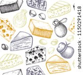 seamless pattern with cheese... | Shutterstock .eps vector #1150291418