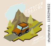 off road vehicle with roof rack ... | Shutterstock .eps vector #1150294832