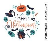happy halloween set. vector... | Shutterstock .eps vector #1150298675