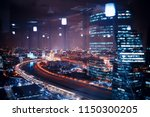 landscape skyscrapers night  ... | Shutterstock . vector #1150300205