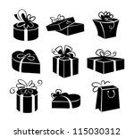 set of gift boxes icons  black...