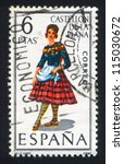 spain   circa 1967  stamp... | Shutterstock . vector #115030672