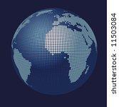 stylized 3D vector globe map - stock vector