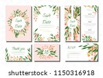 wedding card templates set with ... | Shutterstock .eps vector #1150316918