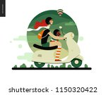 girl on a scooter   flat vector ... | Shutterstock .eps vector #1150320422