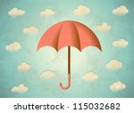 aged vintage card with clouds... | Shutterstock .eps vector #115032682