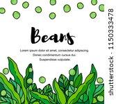 vegetables. pods of green bean  ... | Shutterstock .eps vector #1150333478
