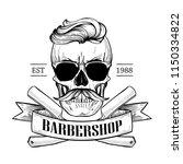 barbershop logo  angry sticker... | Shutterstock .eps vector #1150334822
