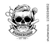 barbershop logo  angry sticker... | Shutterstock .eps vector #1150334852