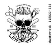 barbershop logo  angry sticker... | Shutterstock .eps vector #1150334858