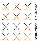set of crossed hockey sticks on ...   Shutterstock .eps vector #1150335965