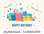 greeting card template with... | Shutterstock .eps vector #1150342595