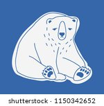sad cute adult polar bear hand... | Shutterstock .eps vector #1150342652