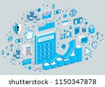calculator with earnings growth ... | Shutterstock .eps vector #1150347878