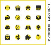 healthy icons set with lungs ...