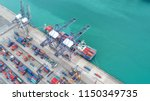 container ship in export and... | Shutterstock . vector #1150349735