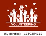 hands with hearts. raised hands ... | Shutterstock .eps vector #1150354112