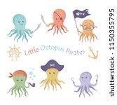 funny multicolored octopus...   Shutterstock .eps vector #1150355795