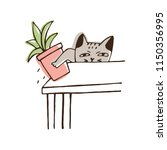 nasty cat throwing potted plant ... | Shutterstock .eps vector #1150356995