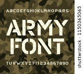 army stencil alphabet font.... | Shutterstock .eps vector #1150365065