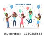 corporate party in the office... | Shutterstock .eps vector #1150365665