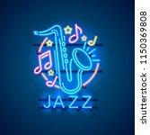 neon label music jazz banner.... | Shutterstock .eps vector #1150369808