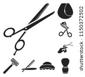 hairdresser and tools black... | Shutterstock .eps vector #1150372502