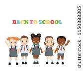 happy school kids. back to... | Shutterstock .eps vector #1150383305