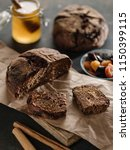 homemade rye bread with prunes... | Shutterstock . vector #1150399115