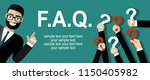 human hands holding question... | Shutterstock .eps vector #1150405982