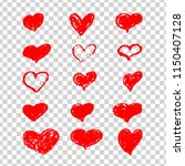 hand drawn vector hearts | Shutterstock .eps vector #1150407128