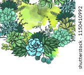 card with a wreath of succulents | Shutterstock .eps vector #1150410992