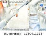 the women researcher using... | Shutterstock . vector #1150411115