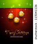 three golden christmas balls... | Shutterstock .eps vector #115041136