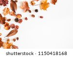autumn composition. frame made... | Shutterstock . vector #1150418168