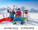 ski  snow  sun and winter fun | Shutterstock . vector #115043446