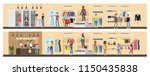 clothing store interior.... | Shutterstock .eps vector #1150435838