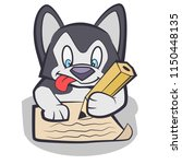 husky puppy writing a later   Shutterstock .eps vector #1150448135