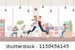 happy office workers jumping up.... | Shutterstock .eps vector #1150456145
