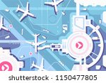terminal airport  airplanes and ... | Shutterstock .eps vector #1150477805