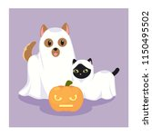 halloween dog and cat | Shutterstock .eps vector #1150495502