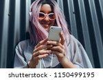 young beauty girl purple hair... | Shutterstock . vector #1150499195