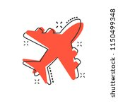 vector cartoon airplane icon in ...