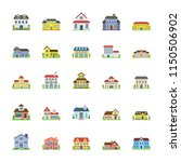house exterior flats icons  | Shutterstock .eps vector #1150506902