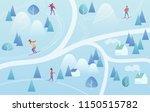 ski resort with skiers....   Shutterstock .eps vector #1150515782