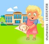 happy school girl with c grade... | Shutterstock .eps vector #1150519358